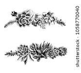succulents hand   drawn... | Shutterstock .eps vector #1058770040