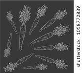 carrot  white cow graphite... | Shutterstock .eps vector #1058772839