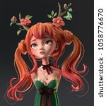 3d cartoon character red haired ... | Shutterstock . vector #1058776670