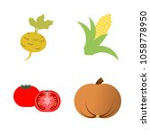 vegetables icon set with 4... | Shutterstock .eps vector #1058778950