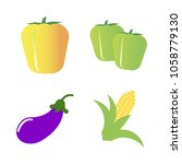 vegetables icon set with 4... | Shutterstock .eps vector #1058779130