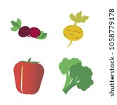 vegetables icon set with 4... | Shutterstock .eps vector #1058779178