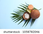 composition with coconut oil on ... | Shutterstock . vector #1058782046
