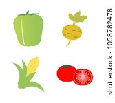 vegetables icon set with 4... | Shutterstock .eps vector #1058782478