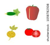vegetables icon set with 4... | Shutterstock .eps vector #1058782508