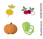 vegetables icon set with 4... | Shutterstock .eps vector #1058782520