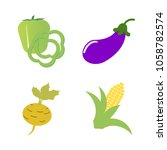 vegetables icon set with 4... | Shutterstock .eps vector #1058782574