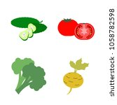 vegetables icon set with 4... | Shutterstock .eps vector #1058782598