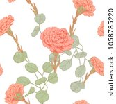 vector square floral seamless... | Shutterstock .eps vector #1058785220
