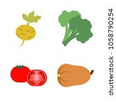 vegetables icon set with 4... | Shutterstock .eps vector #1058790254