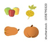 vegetables icon set with 4... | Shutterstock .eps vector #1058790320