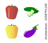 vegetables icon set with 4... | Shutterstock .eps vector #1058791130