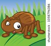 cartoon stag beetle  cute vector | Shutterstock .eps vector #1058796386