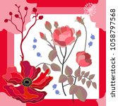summer colors. silk scarf with...   Shutterstock .eps vector #1058797568
