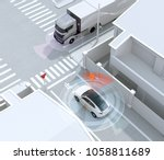 white suv in one way street... | Shutterstock . vector #1058811689