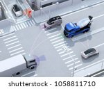 smooth traffic in crossroad.... | Shutterstock . vector #1058811710