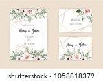 vector invitation with handmade ... | Shutterstock .eps vector #1058818379