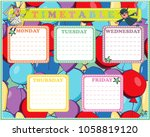 five day timetable on a multi... | Shutterstock .eps vector #1058819120