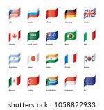 vector set of flags of the g20 | Shutterstock .eps vector #1058822933