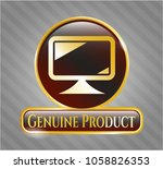 shiny badge with monitor icon... | Shutterstock .eps vector #1058826353