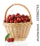 Sweet Cherry In Basket Isolate...