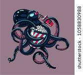 cartoon octopus is watching... | Shutterstock .eps vector #1058830988