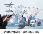 transportation  import export... | Shutterstock . vector #1058833409
