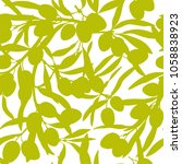 olive branches  olive oil  flat ... | Shutterstock .eps vector #1058838923