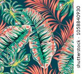 tropical palm leaves  jungle .... | Shutterstock .eps vector #1058840930