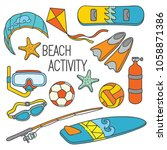 beach sport activities cartoon...   Shutterstock .eps vector #1058871386