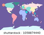 color minimalistic world map | Shutterstock .eps vector #1058874440