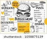 burger food menu for restaurant ... | Shutterstock .eps vector #1058875139
