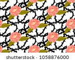seamless pattern with roses and ... | Shutterstock .eps vector #1058876000