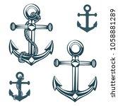 hand drawn nautical anchor... | Shutterstock .eps vector #1058881289