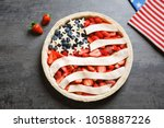 american flag pie on grey... | Shutterstock . vector #1058887226
