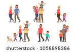 set of family portraits.... | Shutterstock .eps vector #1058898386