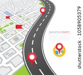navigation concept with pin... | Shutterstock . vector #1058905379
