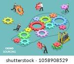 crowdsourcing flat isometric...   Shutterstock .eps vector #1058908529