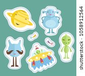 space cartoon stickers. smiling ... | Shutterstock . vector #1058912564