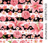 rose and lily seamless pattern. ... | Shutterstock .eps vector #1058917610