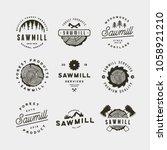 set of sawmill logos. retro... | Shutterstock .eps vector #1058921210