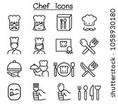 chef icon set in thin line style | Shutterstock .eps vector #1058930180