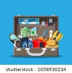 big travel set. summer holiday  ... | Shutterstock .eps vector #1058930234