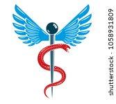 caduceus symbol made using bird ... | Shutterstock .eps vector #1058931809