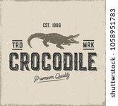 Crocodile Retro Label Isolated...