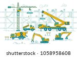 graphic of excavator and truck... | Shutterstock .eps vector #1058958608