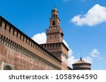 sforza castello castle in ... | Shutterstock . vector #1058964590