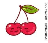 cute cartoon couple of cherries ... | Shutterstock . vector #1058967770