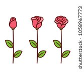 cartoon style red rose icon set.... | Shutterstock . vector #1058967773