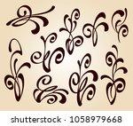 set of floral design elements... | Shutterstock .eps vector #1058979668